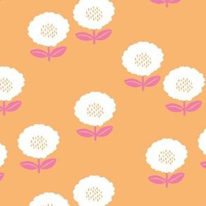 Sweet Scandinavian spring flower garden minimal daisies design peach pink