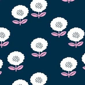 Sweet Scandinavian spring flower garden minimal daisies design midnight navy blue red