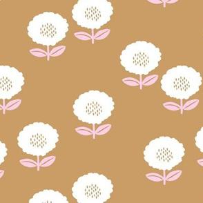Sweet Scandinavian spring flower garden minimal daisies design pastel beige pink