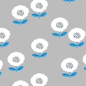 Sweet Scandinavian spring flower garden minimal daisies design pastel gray blue