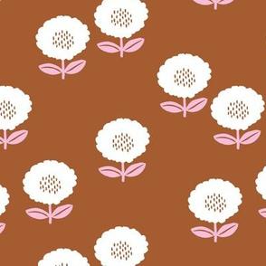 Sweet Scandinavian spring flower garden minimal daisies design copper rust pink