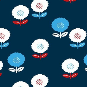 Sweet American spring flower garden minimal daisies design usa american holiday blue red