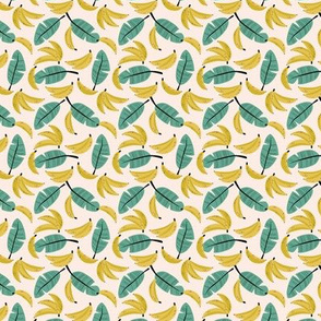 Tropical summer bananas and banana leaves jungle garden yellow sage green XXS