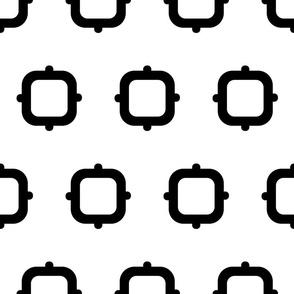 Squares & Knobs - Black & White - Medium