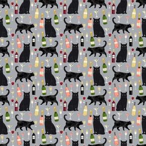 SMALL - black cat wine fabric cute rose  and cats fabric kitty cat fabric cat lady fabric - grey