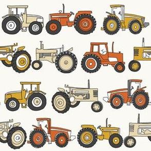 tractor fabric, tractors, vintage tractors  - neutral fabric, farm fabric, kids fabric - mustard