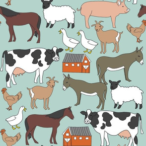 farm animals fabric - farm fabric, farm animals fabric, cow, sheep, horse, donkey, chicken - mint