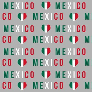 mexico love fabric - red and green, mexico flag, mexican fabric - grey