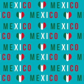 mexico love fabric - red and green, mexico flag, mexican fabric - turquoise