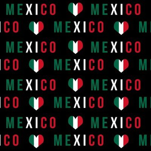 mexico love fabric - red and green, mexico flag, mexican fabric - black