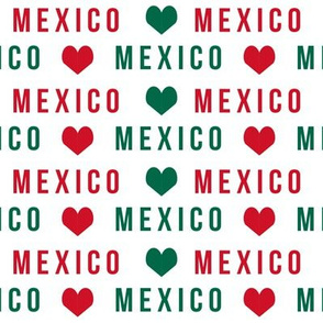 mexico love fabric - red and green, mexico flag, mexican fabric - white