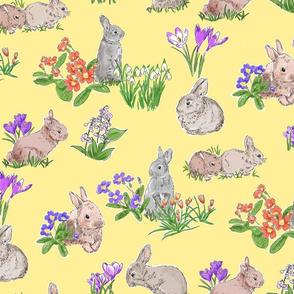 Spring Bulbs and Bunnies Yellow