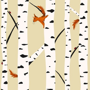 Squirrels and ladybirds in a birch forest