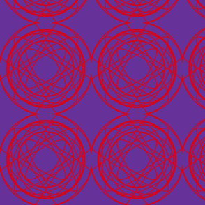 Red geometric circles on blue