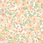 Illustrated Vintage Wildflowers-peach
