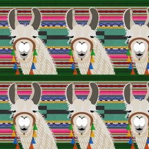 serape blanket _ llama-green