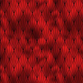 Black and Ruby Red Faux Foil Vintage Fan Art Deco Pattern