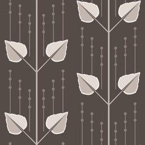 Louise: 1920s Taupe Stripe, Leafy Stripe
