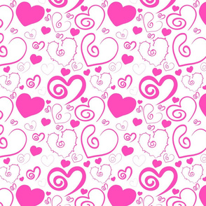 Lots of Hearts Pink and White