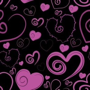 Lots of Hearts Pink and Black