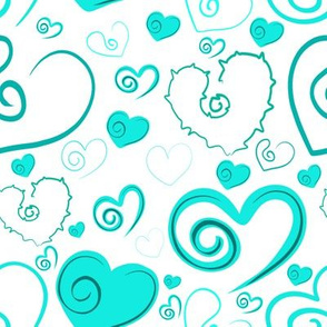 Lots of Hearts Teal and White