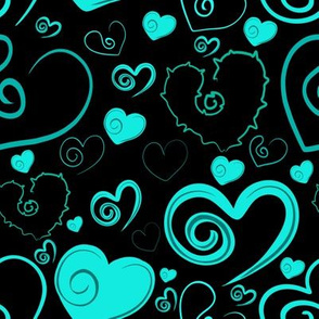 Lots of Heart Teal and Black