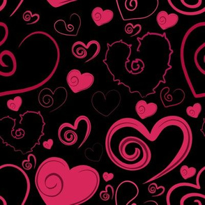 Lots of Hearts Red and Black
