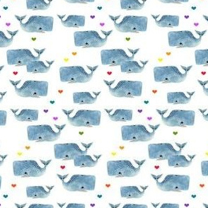 Whale Pod - Tiny with Rainbow Hearts