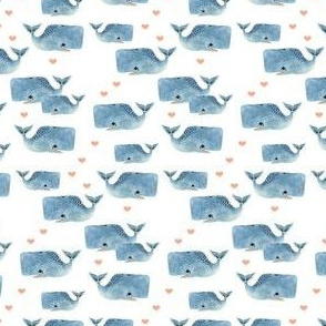 Whale Pod - Tiny with pink hearts