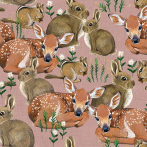 Spring Flora and Fauna // Forest Friends on Rose Linen // {larger scale}