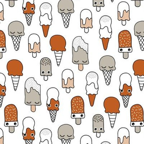 Summer ice-cream and popsicle island snack cute kawaii japanese style illustration pattern rust copper gray kids