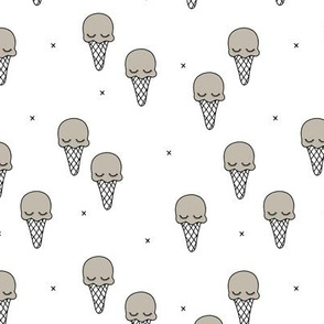 Sweet summer ice cream popsicle sugar pastel warm beige gray kawaii illustration