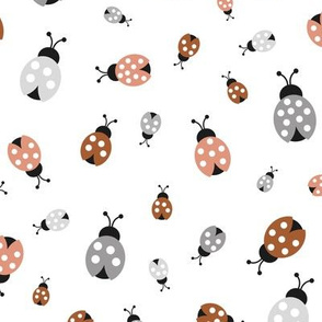 Little lady bugs friends insects and romantic spring garden neutral rust gray baby nursery