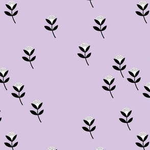 Sweet cotton flowers botanical floral spring summer print spring bright lilac lavender