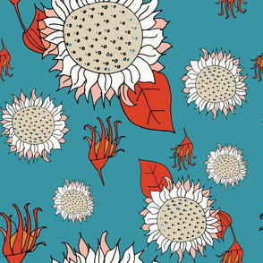Illustrated Flora and Fauna - Sunflower Blue