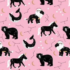 Little kawaii sleepy zodiac signs midnight moon and stars horse whale bear and lion constellation universe design pastel pink girls
