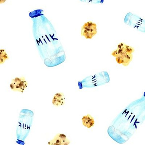 Milk and cookies ★ watercolor sweet pattern for nursery, kids products