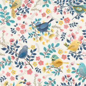 Spring Birds and Florals