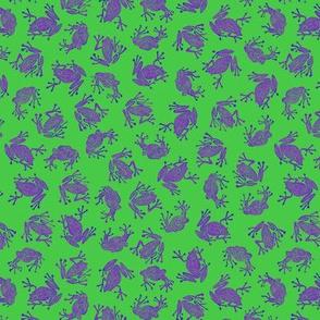 Bob's small purple frogs on green