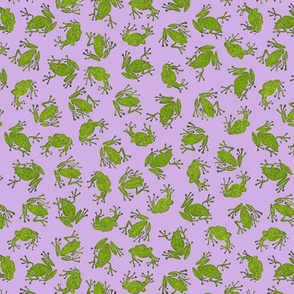 small hiking frogs on lavender