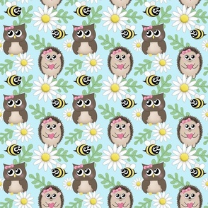 Spring Owl Hedgehog Bee Daisy Pattern - small print