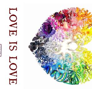 "Rainbow Spectrum Heart ""Love is Love"" satin banner"