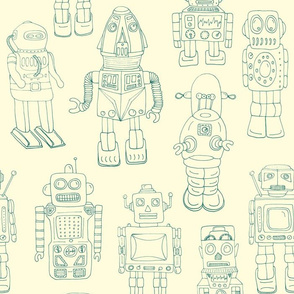 Hand Drawn Vintage Robots Green on Cream Outline - Medium Scale