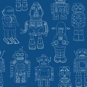 Hand drawn Vintage Robots Classic Blue Outline