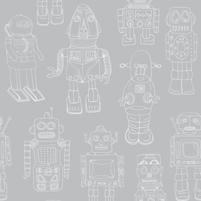 Hand Drawn Vintage Robots Grey Outline