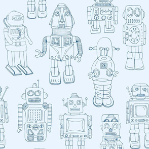 Hand Drawn Vintage Robots Light Blue Outline - medium scale