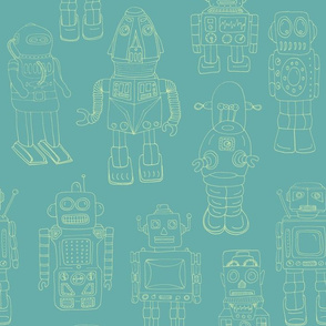 Hand Drawn Vintage Robots Teal Green Outline - medium scale