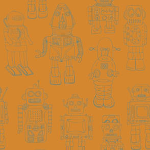 Hand Drawn Vintage Robots Teal Orange Outline - medium scale