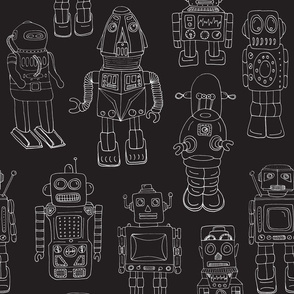 Hand Drawn Vintage Robots Black Outline - medium scale