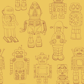 Hand Drawn Vintage Robots Yellow Rust Outline - medium scale